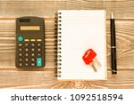 calculator  notebook  keys  pen ... | Shutterstock . vector #1092518594