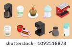 isometric coffee elements set... | Shutterstock .eps vector #1092518873