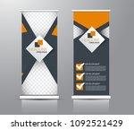roll up stand design. vertical... | Shutterstock .eps vector #1092521429