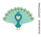 cute cartoon peacock vector...   Shutterstock .eps vector #1092525446