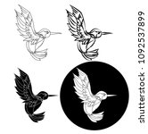 beautiful line art humming bird ... | Shutterstock .eps vector #1092537899