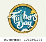 happy father s day calligraphy... | Shutterstock .eps vector #1092541376