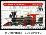 USA - CIRCA 1994: A Stamp printed in USA shows the Hudson's General locomotive, (1855, 1870), series, circa 1994 - stock photo