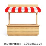 Market Stall With Striped Red...
