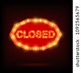 shining retro sign closed... | Shutterstock . vector #1092565679