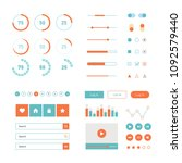 modern ui flat design kit in... | Shutterstock . vector #1092579440