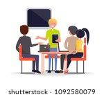 business meeting of people... | Shutterstock .eps vector #1092580079