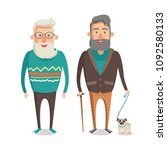 grandparents walking set ... | Shutterstock .eps vector #1092580133