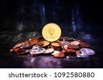 golden ethereum and mound of...   Shutterstock . vector #1092580880