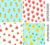 summer fruits seamless patterns ... | Shutterstock .eps vector #1092581000