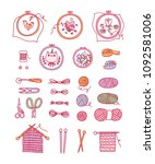 knitting and stitching craft ... | Shutterstock .eps vector #1092581006