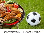 steak  sausages and assorted... | Shutterstock . vector #1092587486
