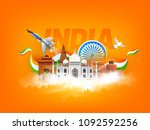 indian famous monuments  india... | Shutterstock .eps vector #1092592256