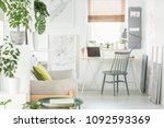 grey chair at desk with laptop... | Shutterstock . vector #1092593369