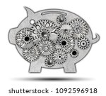 piggy bank icon and tooth wheel ... | Shutterstock . vector #1092596918
