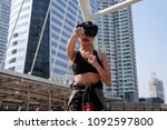 sport woman with vr glasses at... | Shutterstock . vector #1092597800
