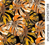 tropical leaves. seamless...   Shutterstock .eps vector #1092607388