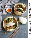 Small photo of Homemade Thai and Japanese cuisine in Chinese guo bao / Vegan Teriyaki & Thai Sweet Chili Tempeh Guo Bao / Delicious and healthy vegetarian light meal