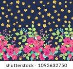 seamless border in small pretty ... | Shutterstock . vector #1092632750