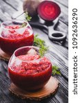 fresh vegetable smoothie from... | Shutterstock . vector #1092636290