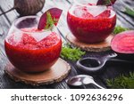 fresh vegetable smoothie from... | Shutterstock . vector #1092636296