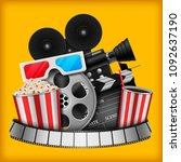 cinema concept with movie... | Shutterstock .eps vector #1092637190