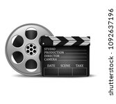 clapperboard and a film reel.... | Shutterstock .eps vector #1092637196
