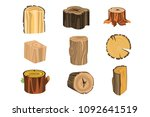 set of different stump trees.... | Shutterstock .eps vector #1092641519