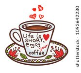 cute greeting card of cup of... | Shutterstock .eps vector #1092642230