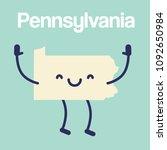 happy pennsylvania map icon.... | Shutterstock .eps vector #1092650984