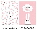 Stock vector hello world vector card and pattern white hand drawn baby rabbit baby shower vector illustration 1092654683