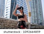 sport woman with vr glasses at...   Shutterstock . vector #1092664859