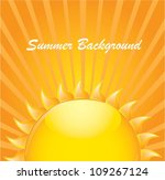 Summer Background With Big Sun...