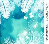 leaves on green watercolor... | Shutterstock .eps vector #1092677474