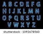 zap blue light english alphabet ... | Shutterstock . vector #1092678560