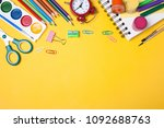 alarm clock  paint  pencils and ... | Shutterstock . vector #1092688763