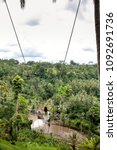 young tourist woman swinging on ... | Shutterstock . vector #1092691736