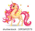 3d pony unicorn character with... | Shutterstock .eps vector #1092692573