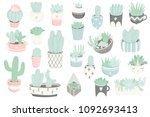 cute summer sticker set with... | Shutterstock .eps vector #1092693413