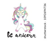 a cute unicorn with glasses and ... | Shutterstock .eps vector #1092694736
