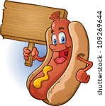 hot dog character holding a sign | Shutterstock .eps vector #109269644