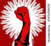 raised protest human fist....   Shutterstock .eps vector #1092698459