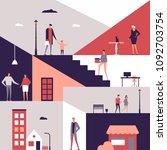 family life   flat design style ... | Shutterstock .eps vector #1092703754