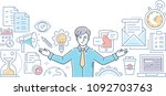 multitasking   line design... | Shutterstock .eps vector #1092703763