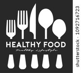 healthy food restaurant logo... | Shutterstock . vector #1092716723