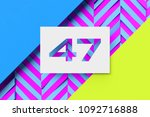 white number 47 on cyan and... | Shutterstock . vector #1092716888