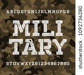 military stencil alphabet font. ... | Shutterstock .eps vector #1092736280