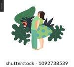 kissing scene   flat cartoon... | Shutterstock .eps vector #1092738539