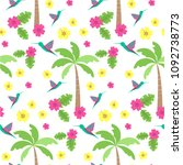 seamless pattern with palm tree.... | Shutterstock .eps vector #1092738773