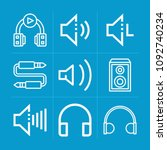 outline sound 9 vector icons...